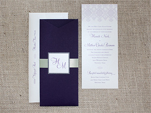 purple wedding invitation sleeve