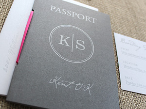 pink ribbon passport invitation