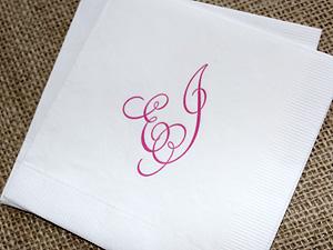 pink monogrammed beverage napkin