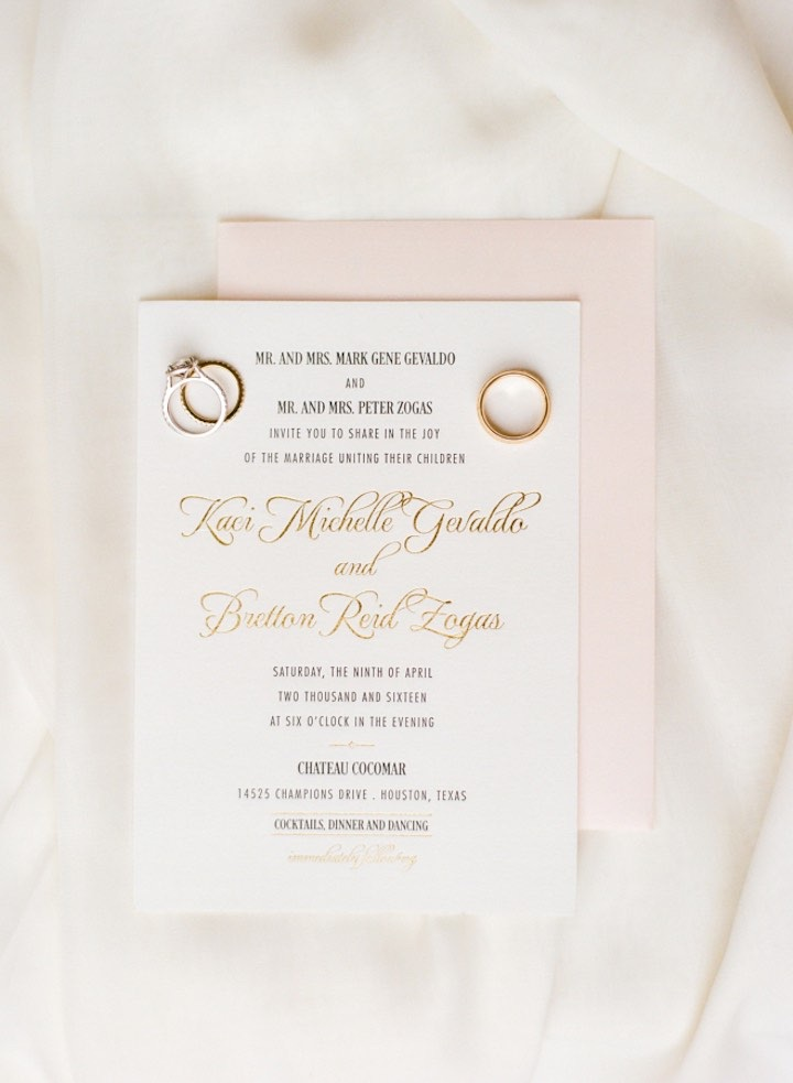 The prettiest blush envelope and gold foil printing creates the perfect amount of elegance and romance.