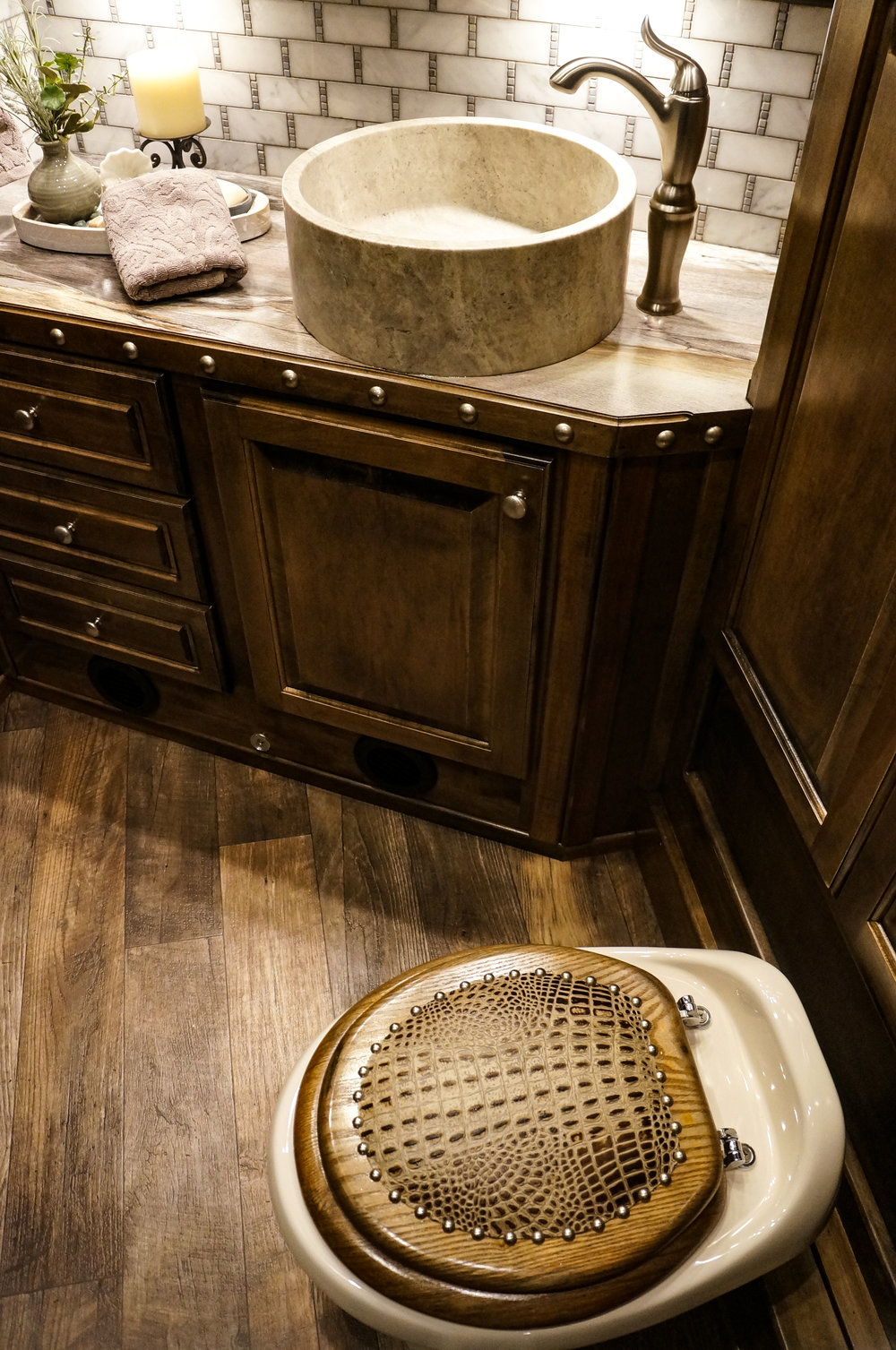 Wood Toilet Seat with Leather and Nail Heads