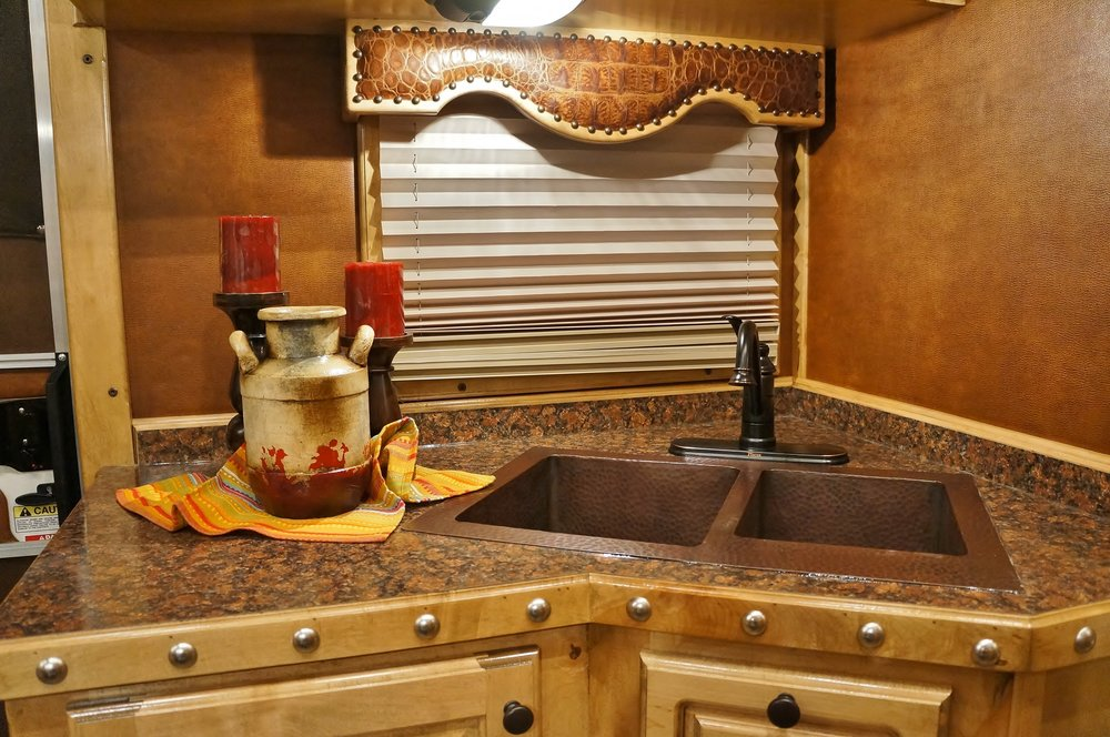 Copper Double Sink with Bronze Faucet