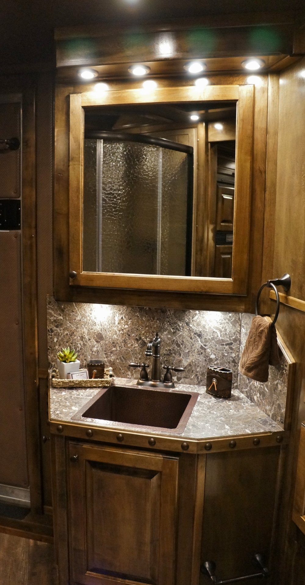 Copper Square Sink with Bronze Faucet