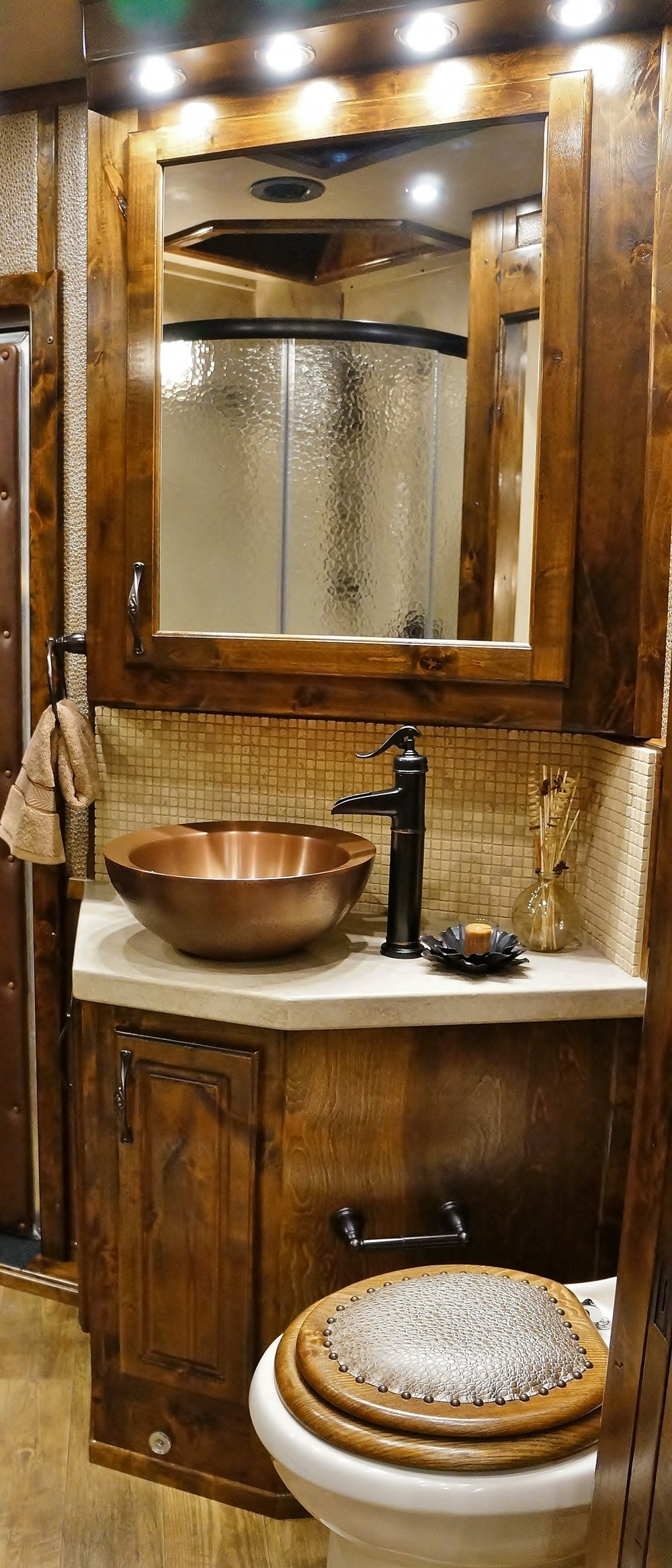 Copper Vessel Sink with Bronze Faucet