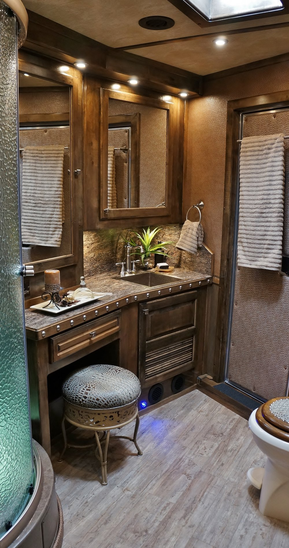 Sit Down Vanity with Stool & Medicine Cabinet with Mirror