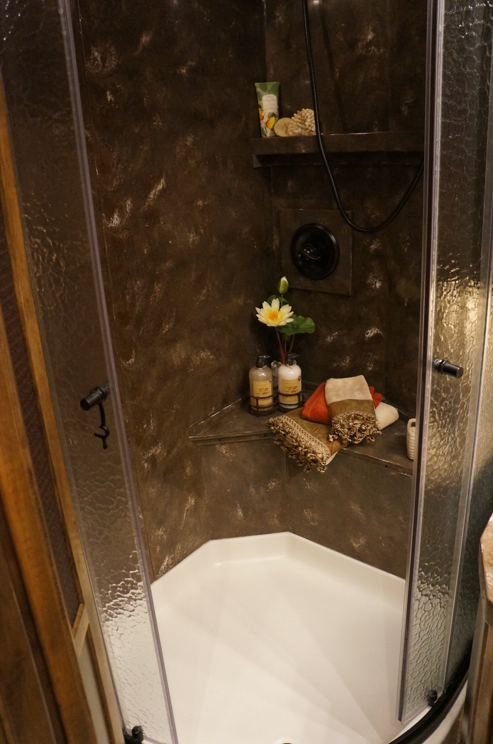 Solid Surface Shower with Seat and Shelf