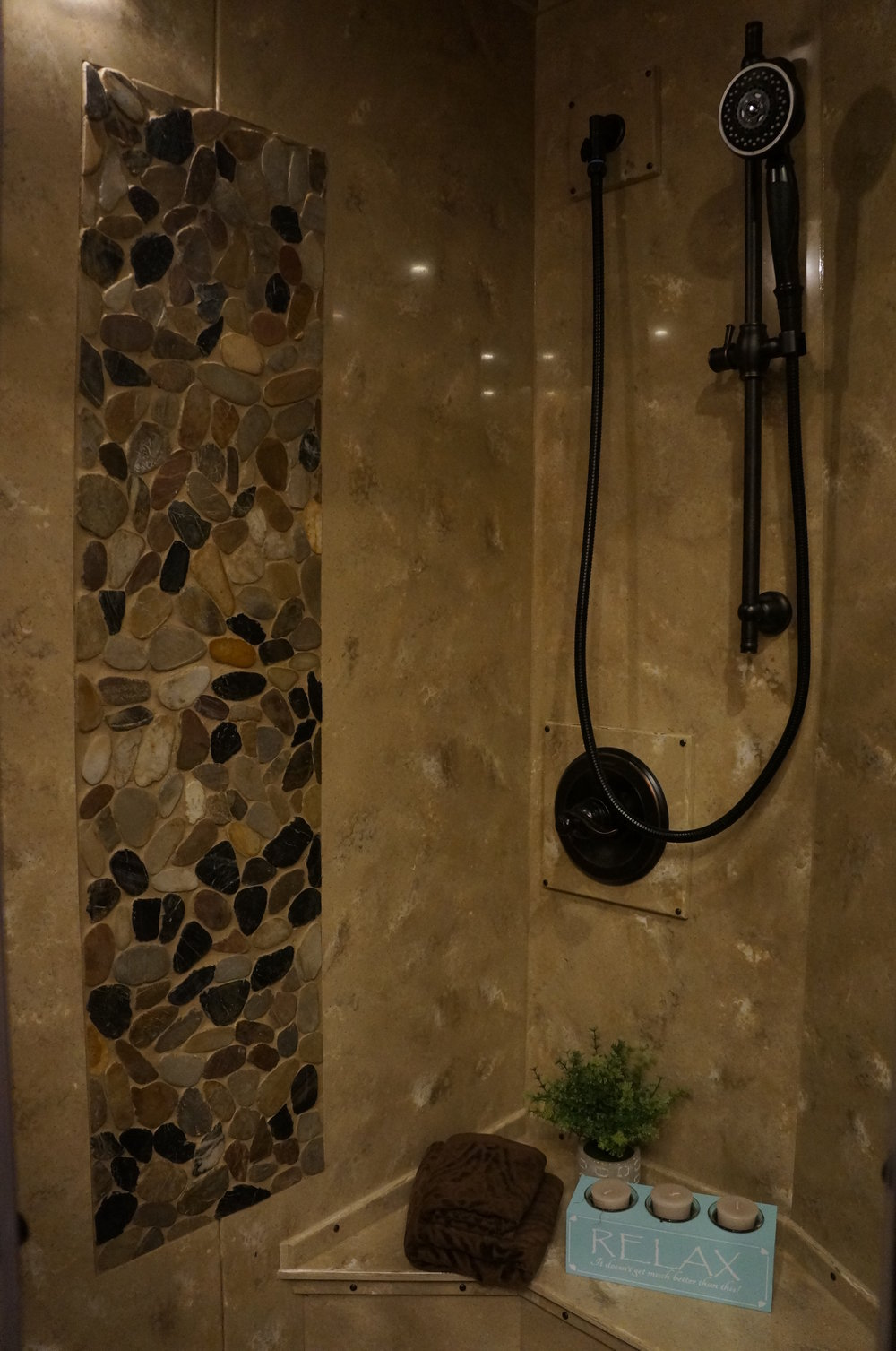 Solid Surface Shower with Tile Insert