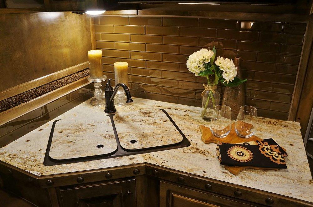 Stnd. Bronze Double Bowl Sink with Stnd. Bonze Faucet