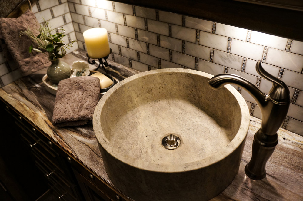 Stone Vessle Sink with Nickel Faucet