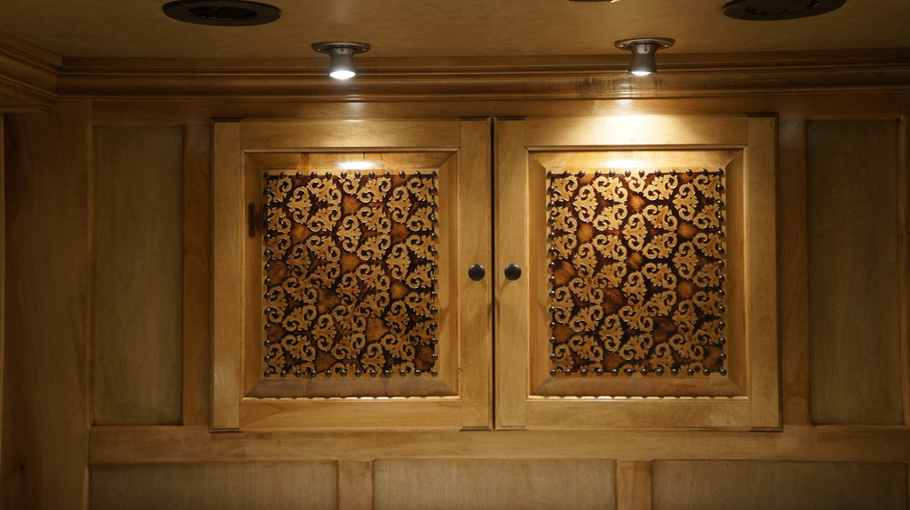 Wardrobe with Leather & Nail Heads in Doors.JPG