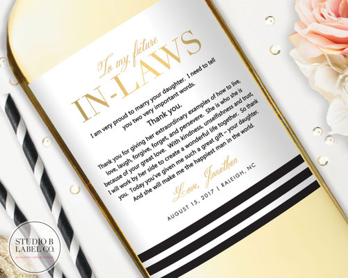 in laws wedding gift thank you gift for parents black gold striped