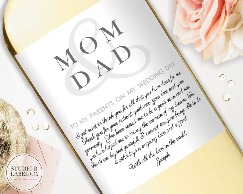Parents Wedding Gift - Thank You for Parents - Mom & Dad — STUDIO B ...