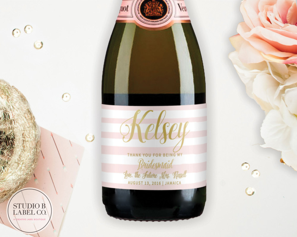 Will You Be My Bridesmaid Mini Champagne Labels — STUDIO B LABELS