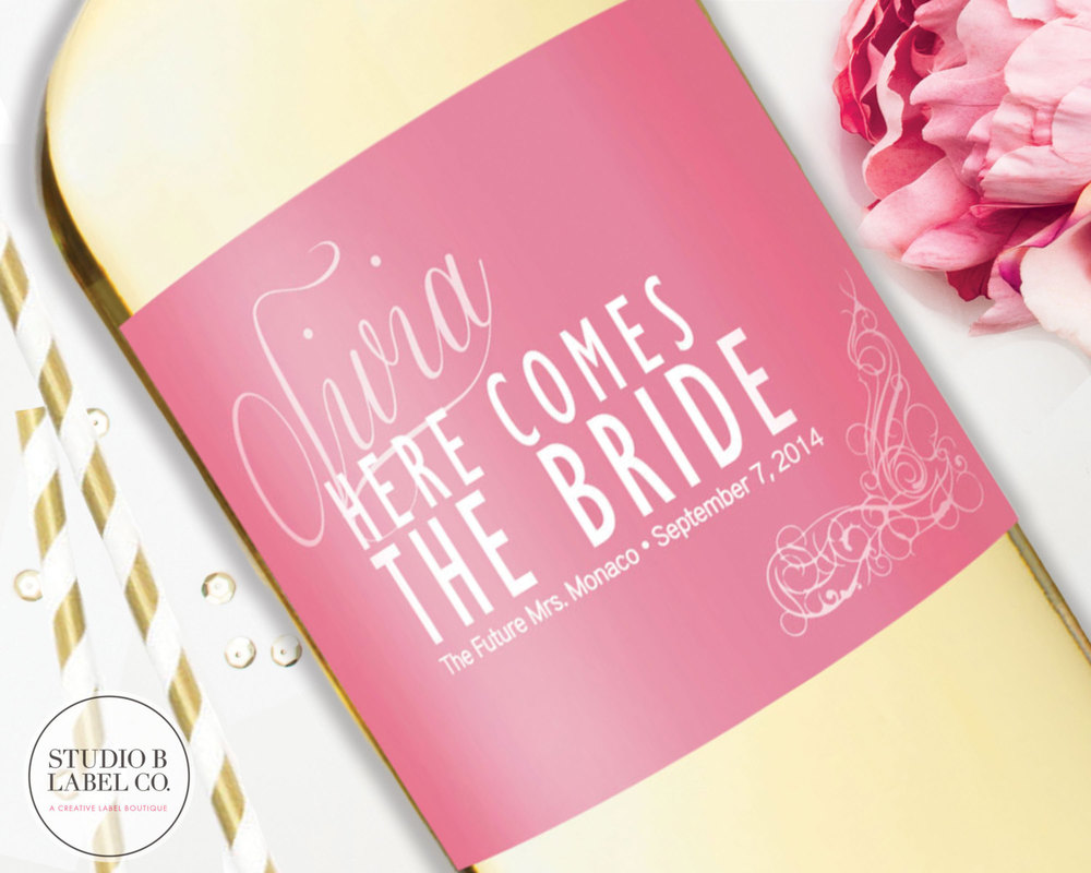 Wedding Wine Labels - Bridal Shower Champagne Labels - Here Comes ...