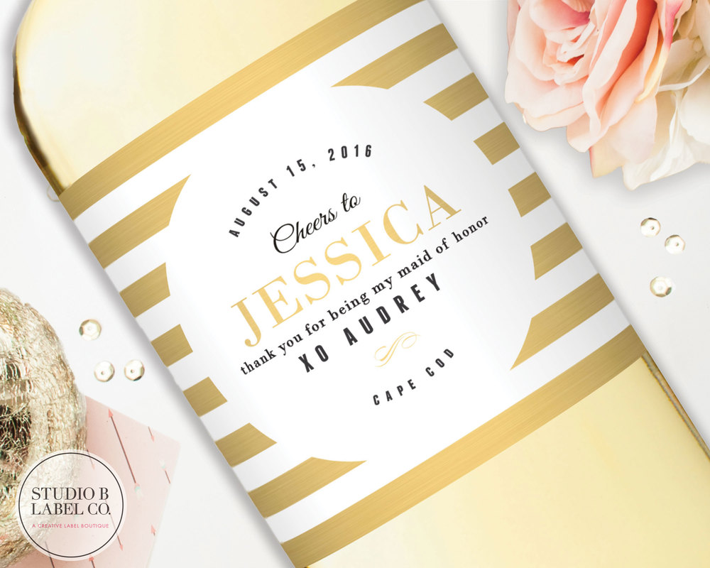 Be My Bridesmaid Gift Wine Label - Gold — STUDIO B LABELS