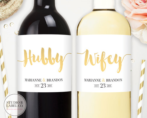 Hubby & Wifey Wine or Champagne Labels — STUDIO B LABELS