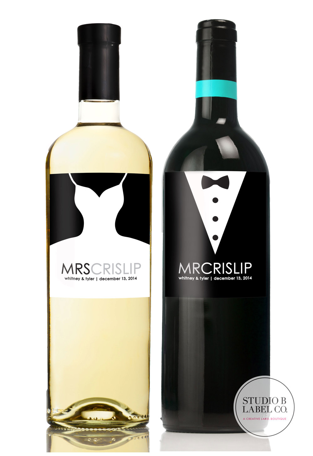 Bride and Groom Wedding Gift Wine or Champagne Labels — STUDIO B LABELS
