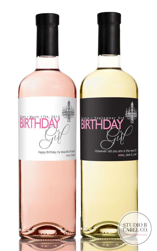 Birthday Girl Wine Labels