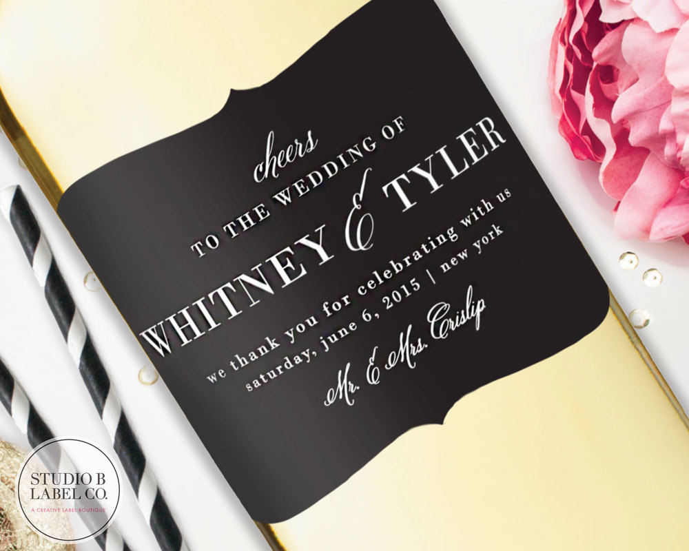 Wedding Favor Wine Label - Ornate Shape Centerpiece — STUDIO B LABELS