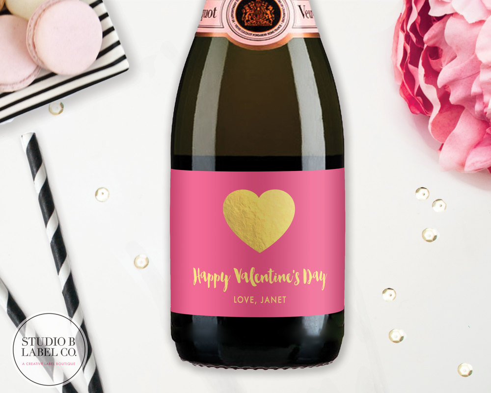 Valentine Mini Champagne & Wine Labels - Pink & Gold Heart — STUDIO ...