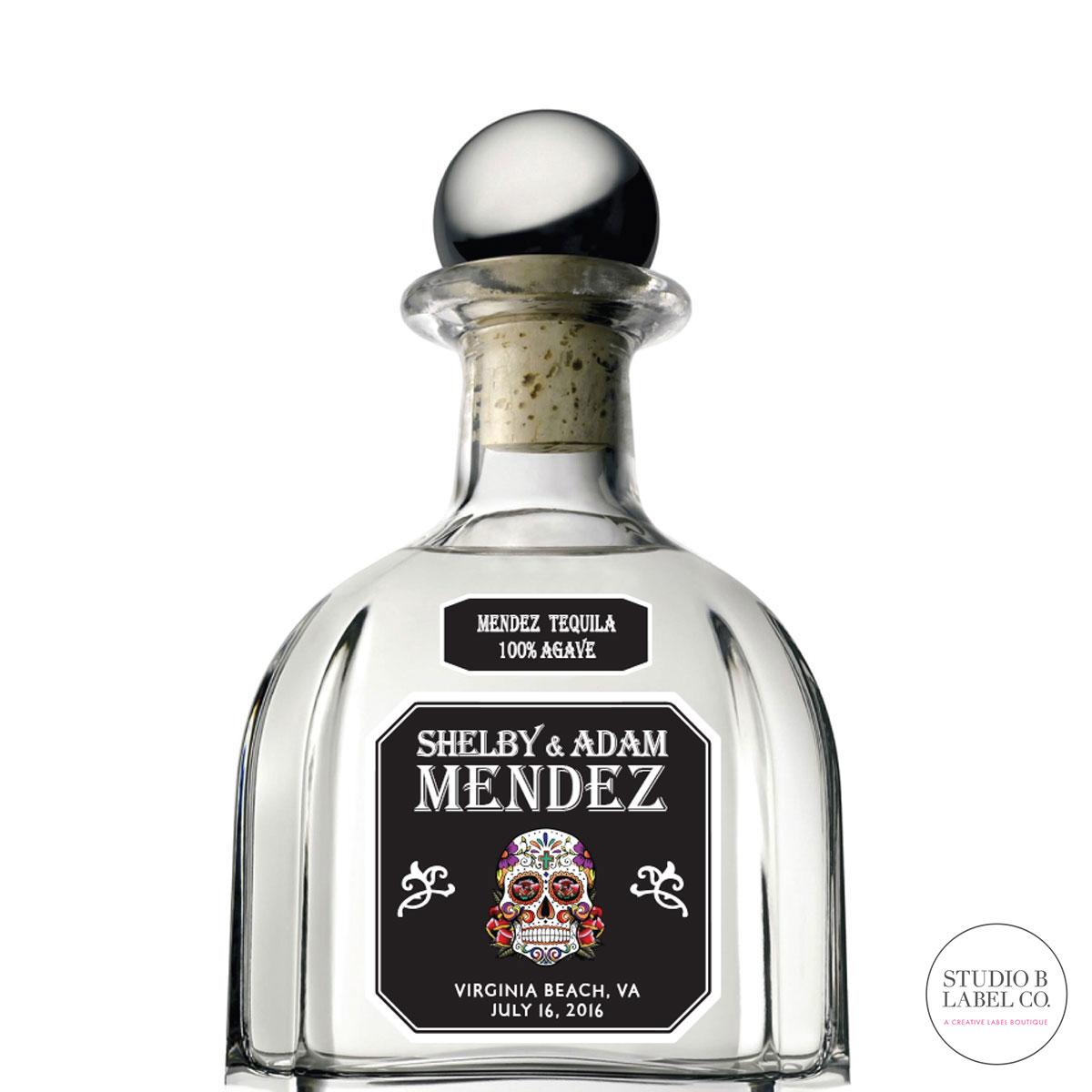 Engagement Gift Tequila Label - Sugar Skull — STUDIO B LABELS