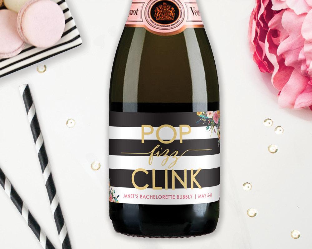 Bridal Shower Favor Mini Champagne Labels - Pop Fizz Clink! — STUDIO ...