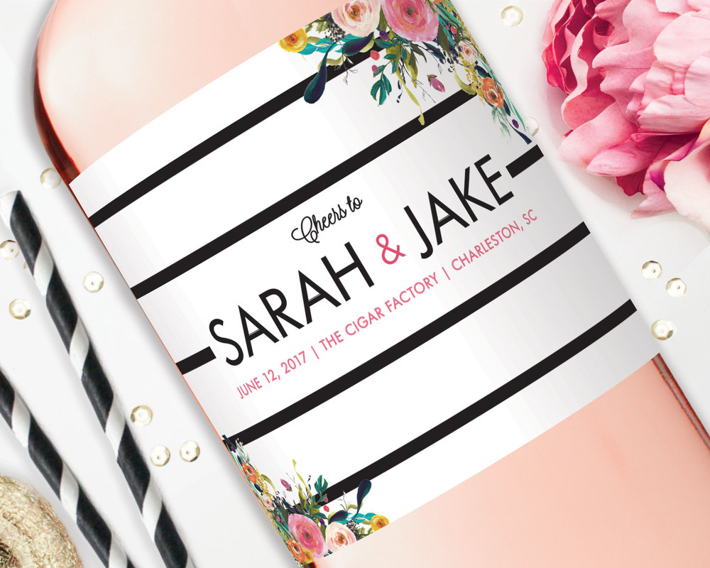 Wedding Favor Champagne Labels - Fun Floral and Stripes — STUDIO B ...