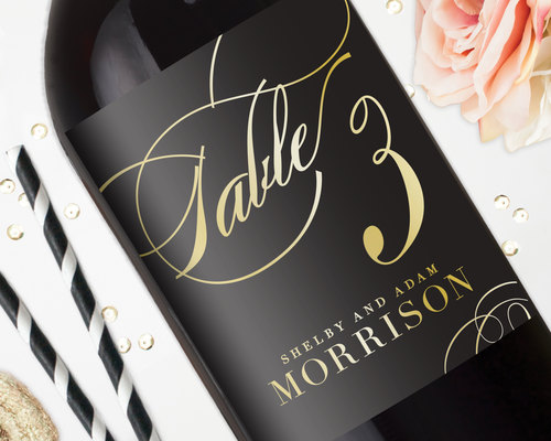 wedding table number wine labels wedding wine labels gold foil