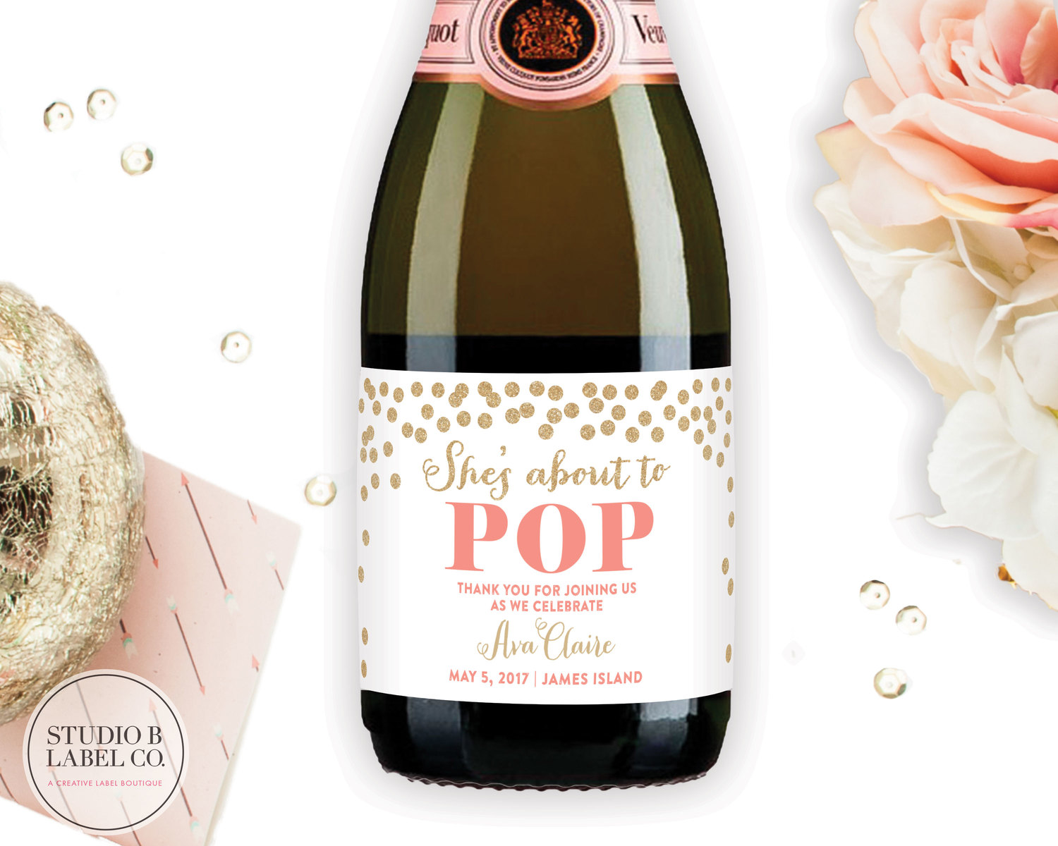 1364a5e30def Baby Shower Favor Mini Champagne Labels - She's about to POP — STUDIO B  LABELS