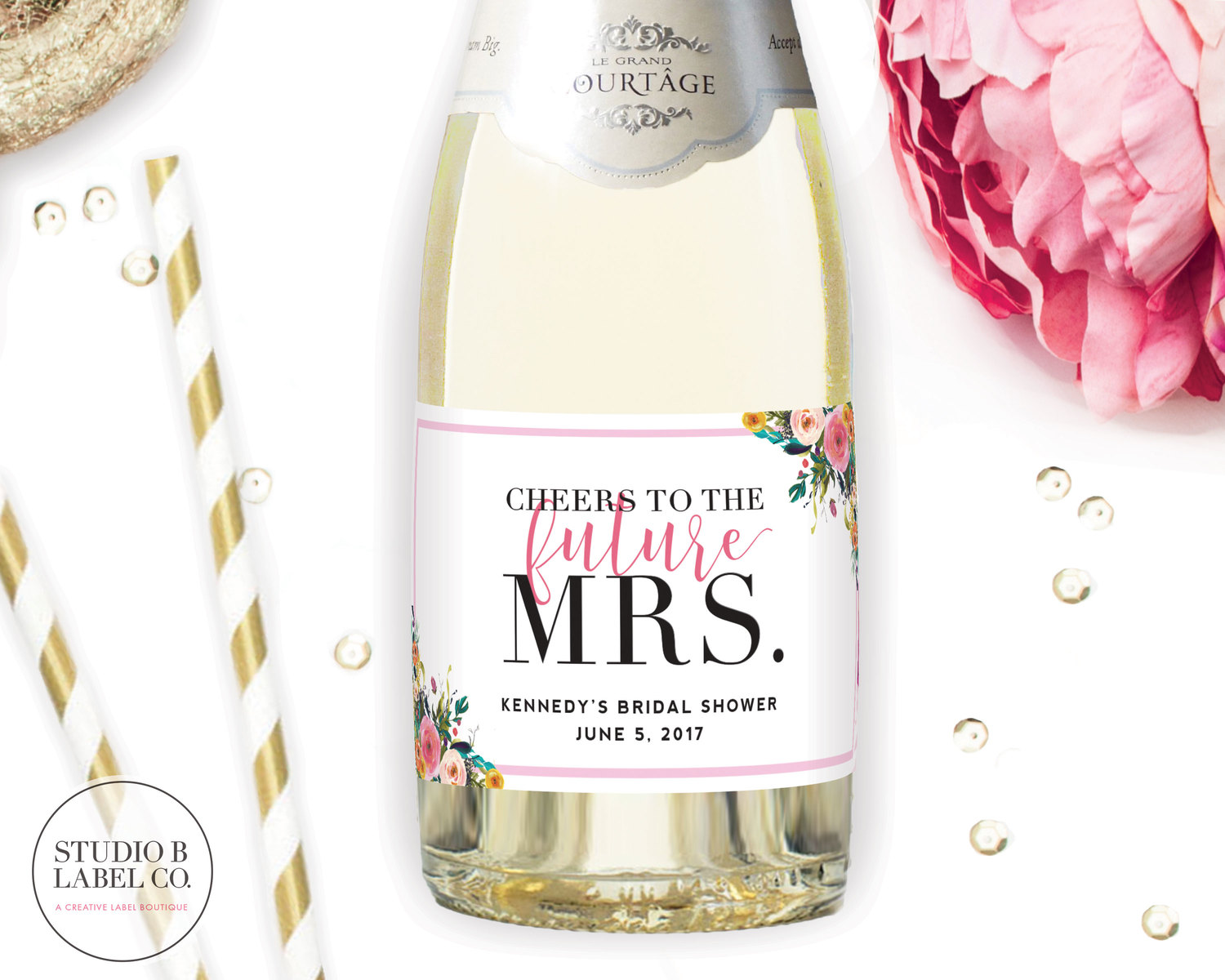 4eaed9f9fd92 Mini Champagne Label Bridal Shower Favors - Cheers to the Future Mrs. -  Flower Bouquet — STUDIO B LABELS