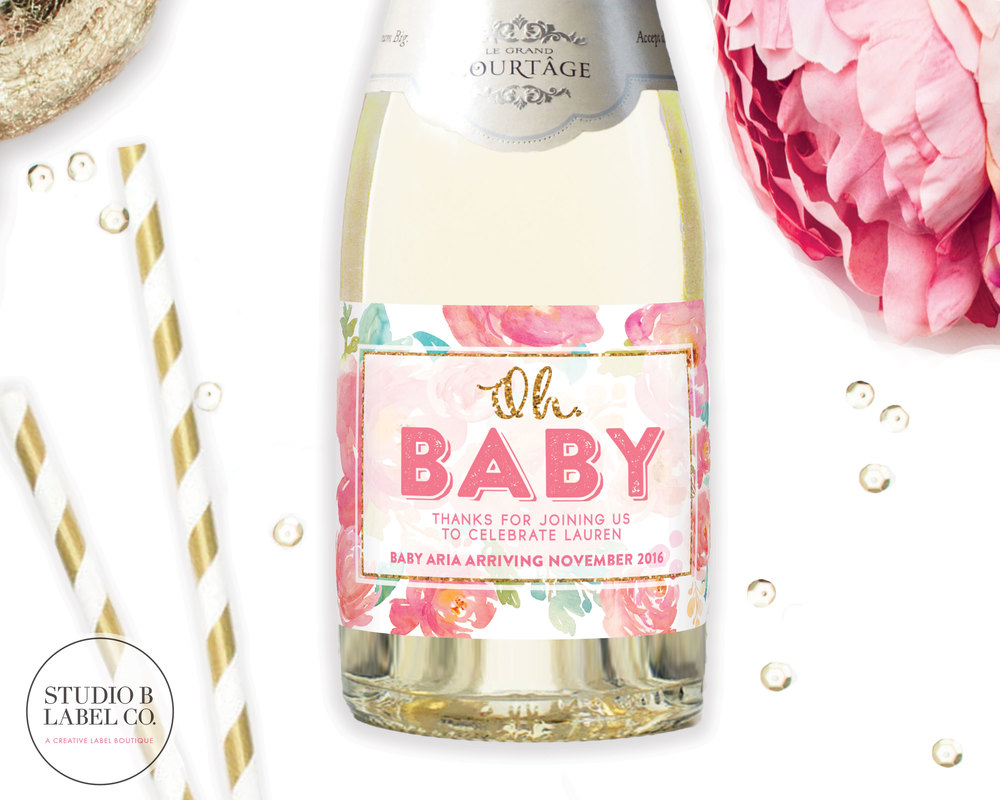 Mini Champagne Labels for Baby Shower - Oh Baby — STUDIO B LABELS