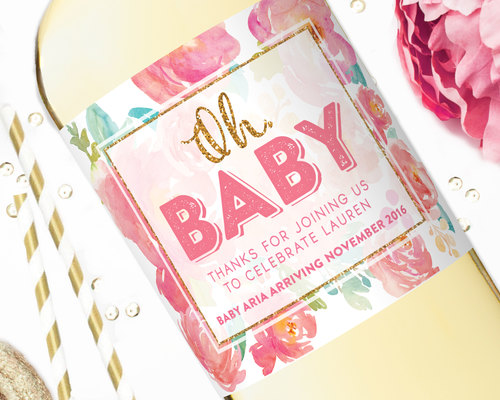 Pregnancy Announcement Wine Label Flowers for Baby STUDIO B LABELS – Baby Announcement Favors