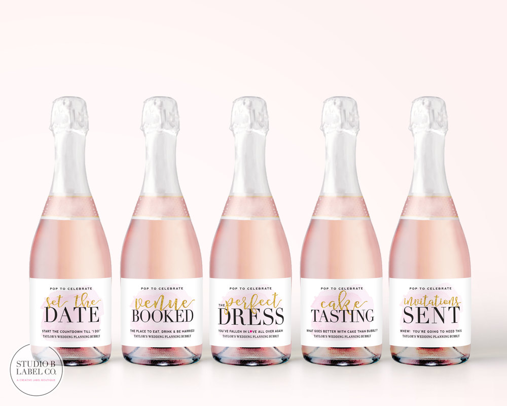 Engagement Events Mini Champagne Labels - Wedding Planning ...