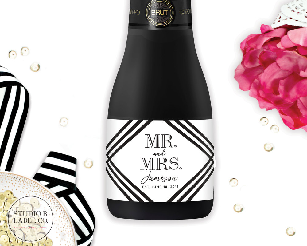 Wedding Favor Mini Champagne Labels - Mr. & Mrs. — STUDIO B LABELS