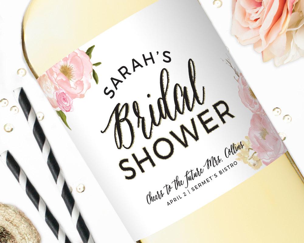 bridal shower champagne labels wedding wine labels bridal bouquet u2014 studio b labels