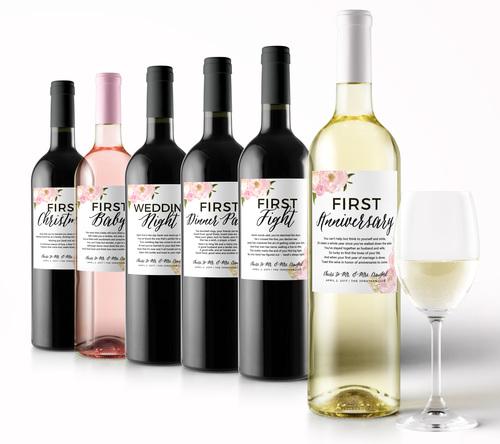 Floral Wedding Milestone First Wine Labels Studio B Labels