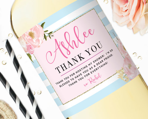 champagne label thank you gift hostess gift a note of thanks