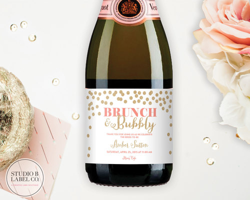 bridal shower favor mini champagne labels personalized wine labels brunch and bubbly