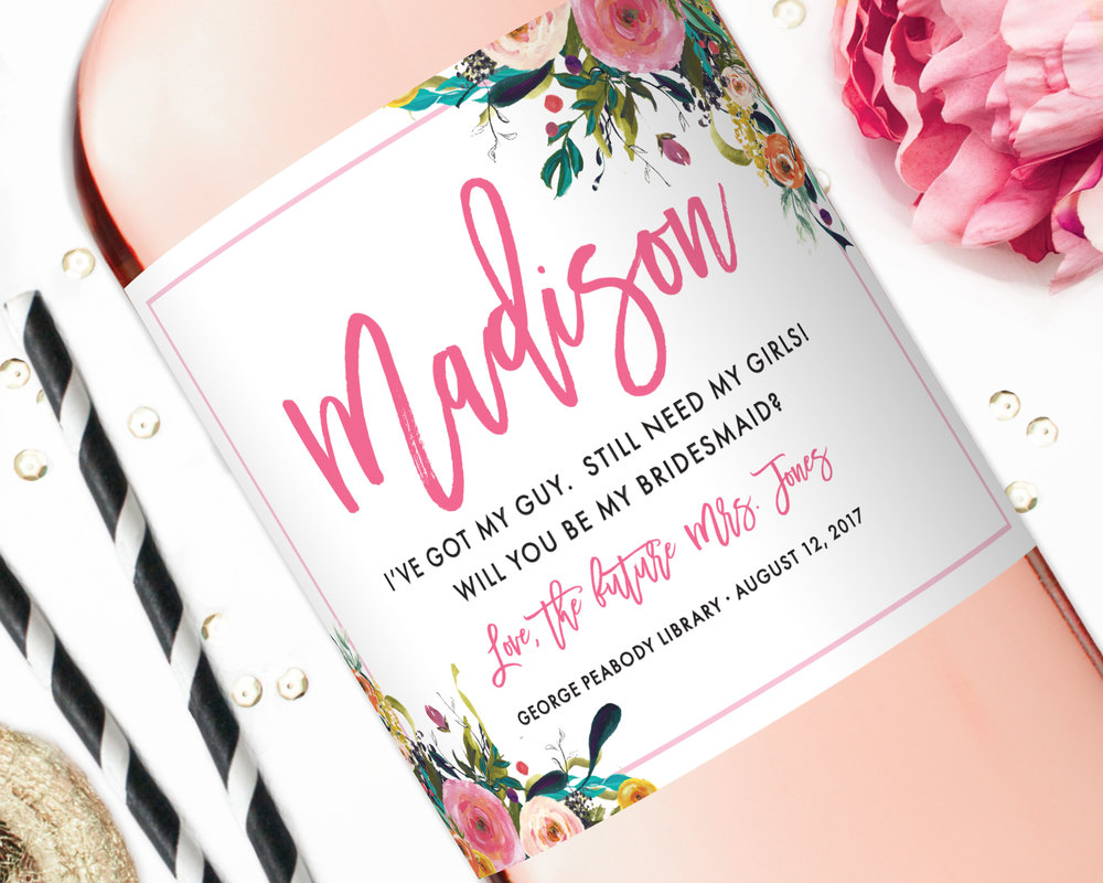 custom wine labels will you be my bridesmaid wine labels studio