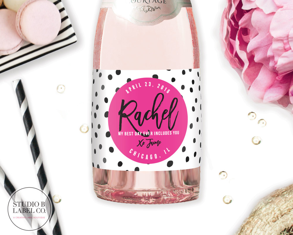 Be My Bridesmaid Gift Mini Champagne Label - Dalmatian & Pink ...