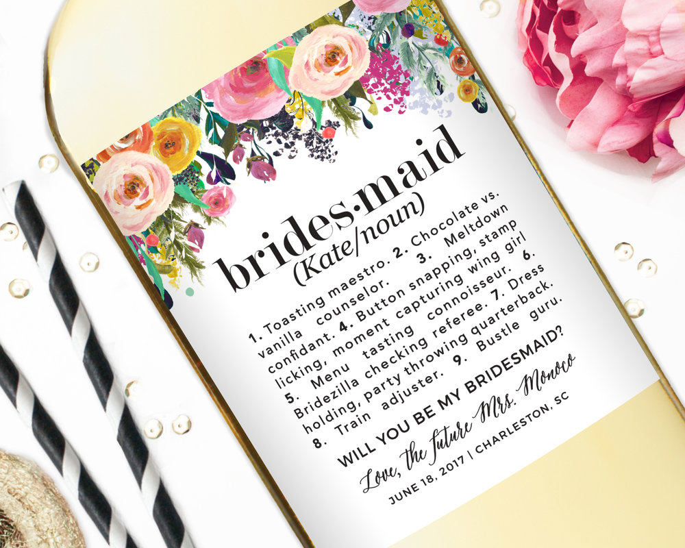 Superb Bridesmaid Gift Label   Floral Definition