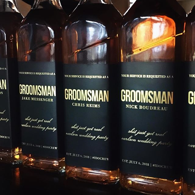 Tall dark and handsome.  We can't stop staring!  Loving this customer photo of personalized Groomsman real #goldfoil ask labels.