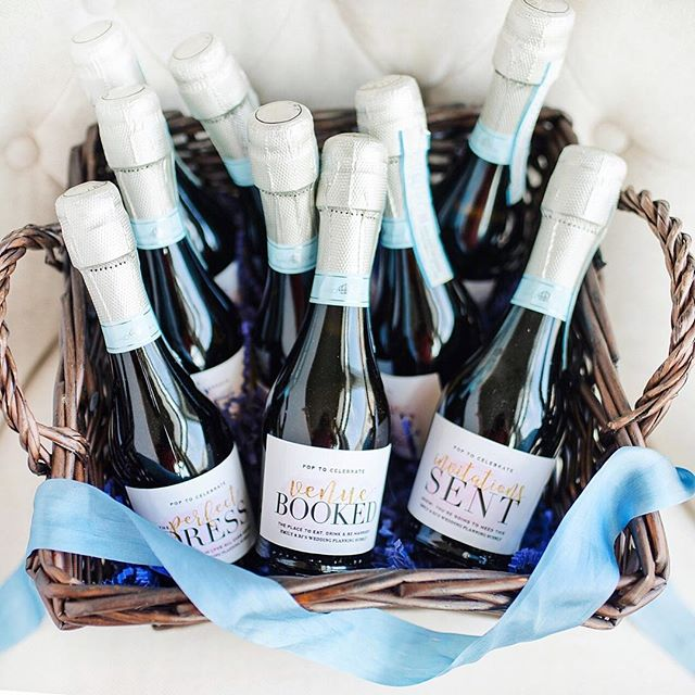 This lovely bride and amazing photographer @emilyalyssaphotography captured this perfect photo of her gifted #customlabels for engagement milestones!  She'll POP these mini @lamarcaprosecco champs after each #weddingplanning occasion.  Cheers to the future Mrs! 🍾🎉