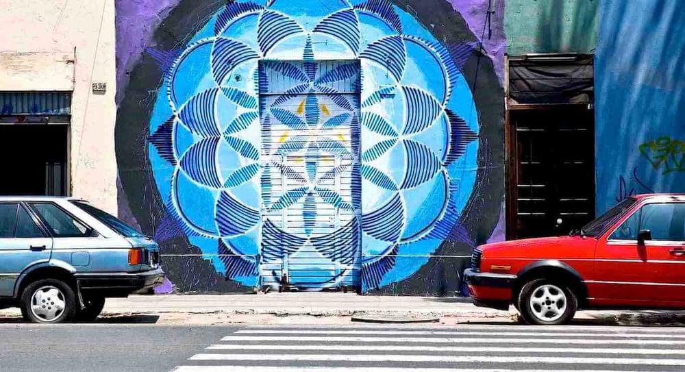Commissioned Street Art Mandala Mural | Lima Peru, 2014