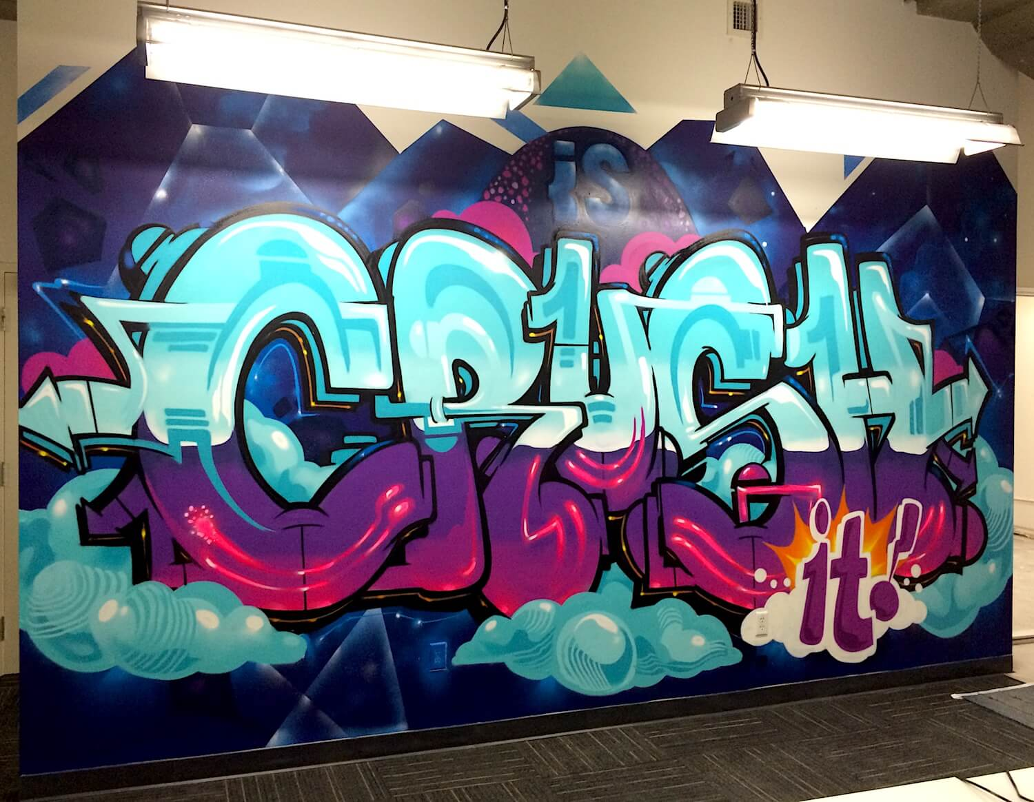 Commissioned office mural for ironsource 2 san francisco usa 2016