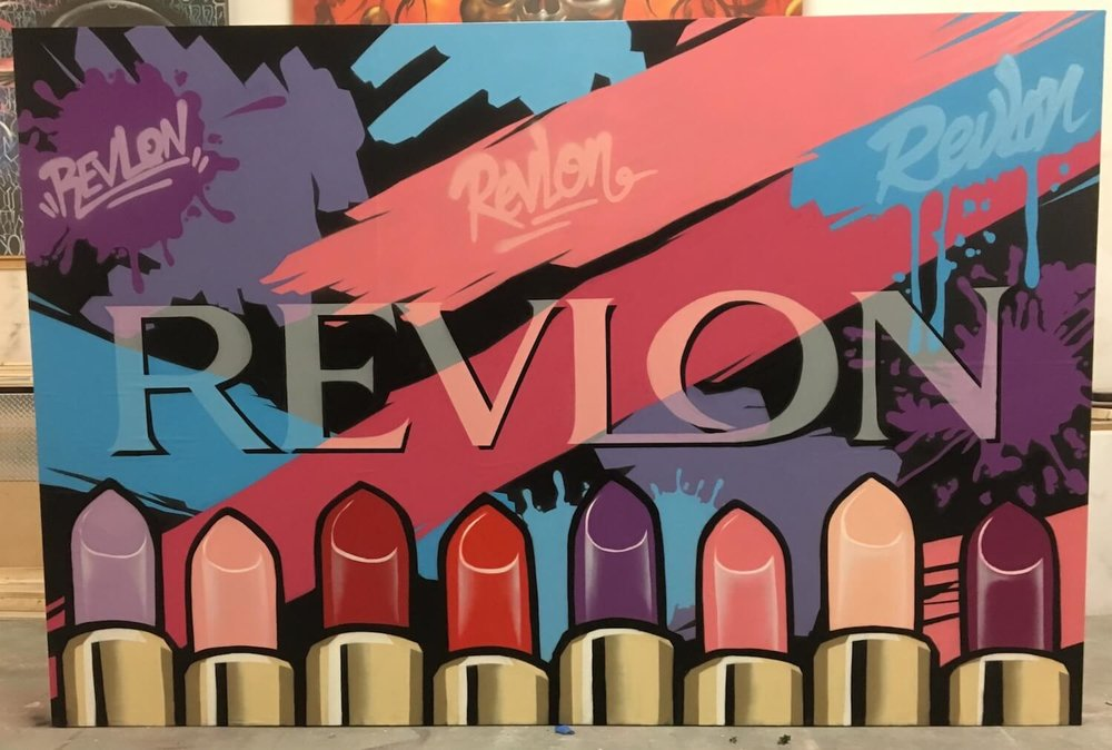 Step and Repeat Graffiti Mural Wall for Revlon | Hollywood USA, 2017