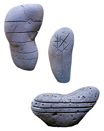 Hand carved stone artwork by sculptor Scott McCulloch in Greenville SC.  Designed for a unique, minimalist, zen, feeling.  Perfect for a creative landscape or garden.