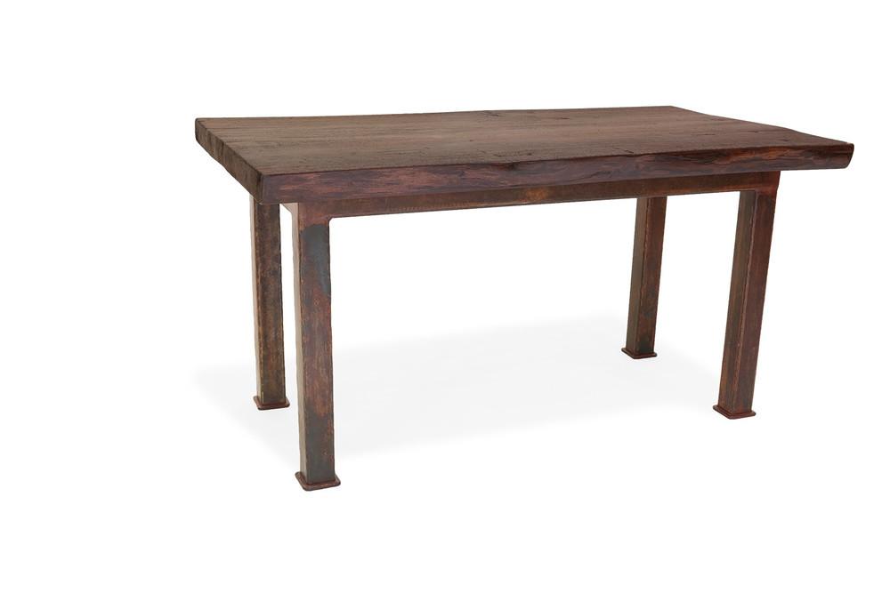 custom wrought iron and walnut table