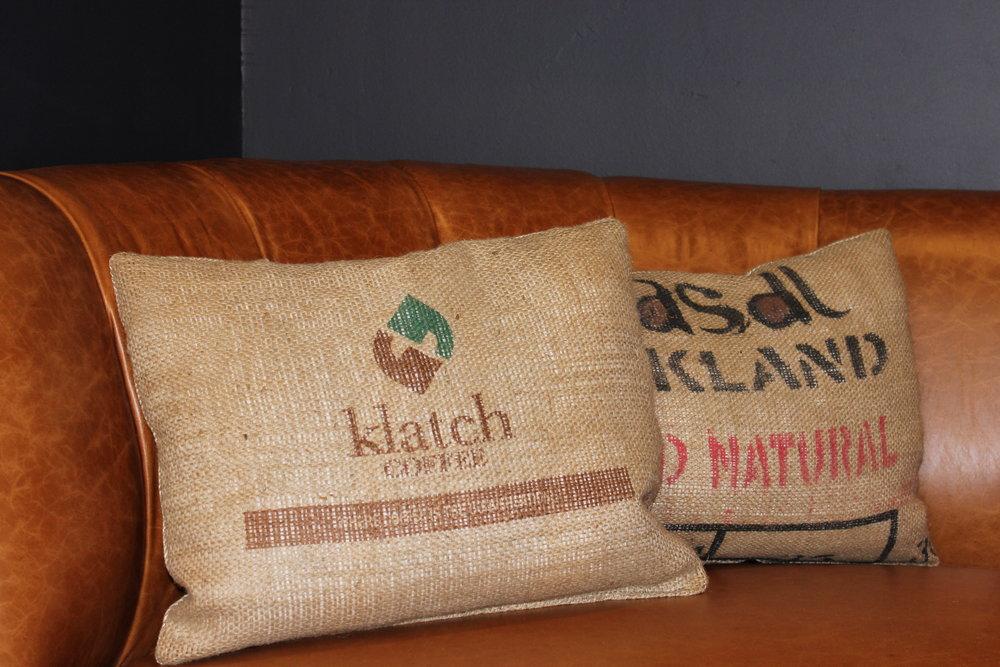 Reclaimed Coffee Bag Pillows