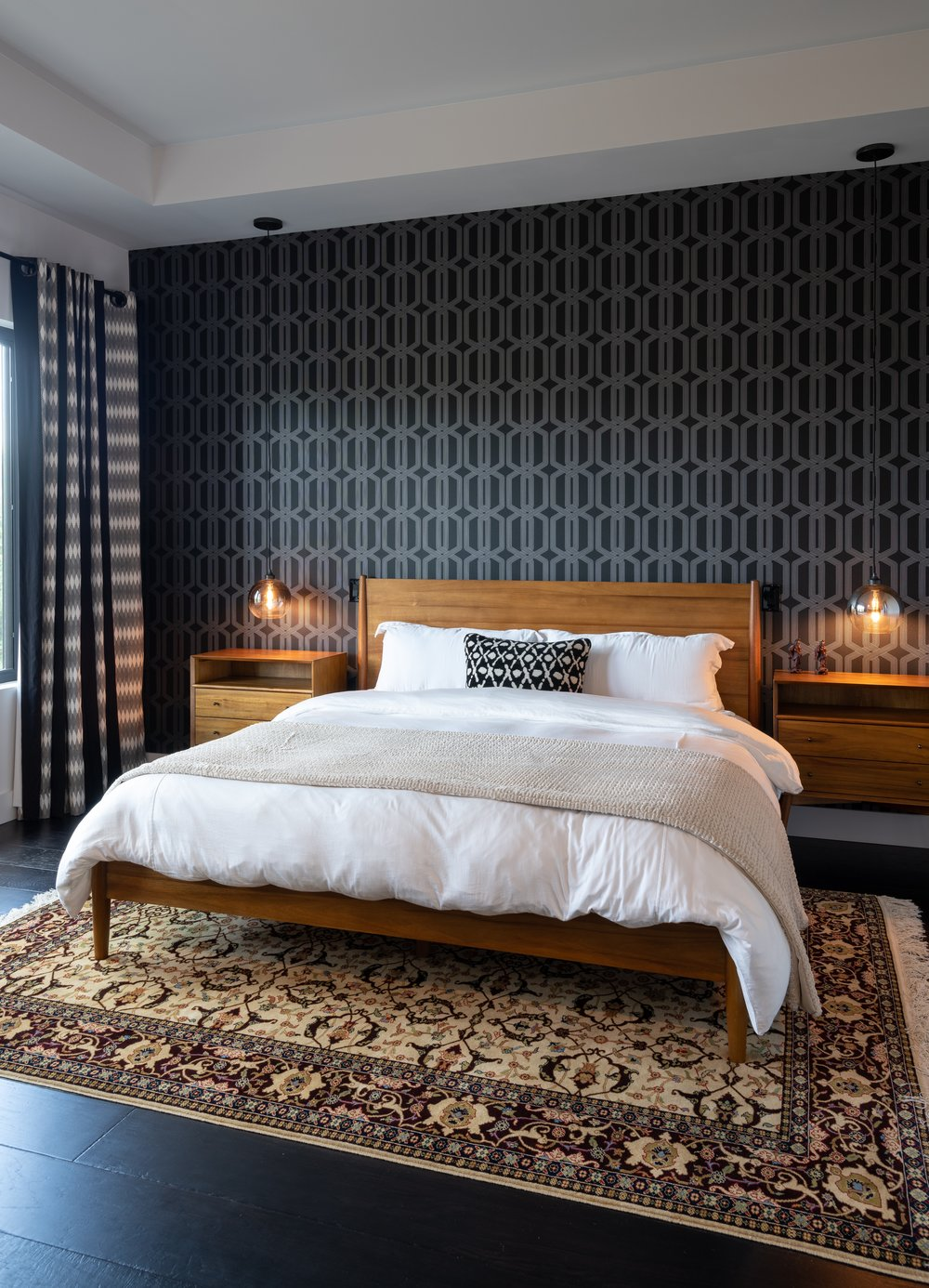 Master Bedroom with Geometric Wallpaper
